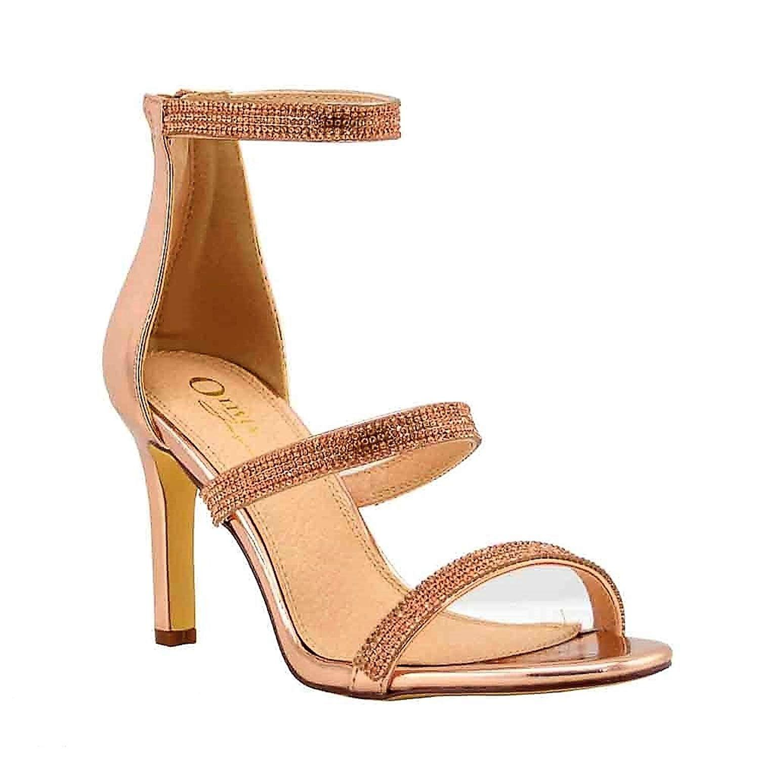Olivia Jaymes Women S Casual Dress Sandal 7c Round Open Toe Rhinestone Covered Triple Band 7c Mid Kitten Kitten Heel Sandals Kitten Heel Shoes Sandals Heels