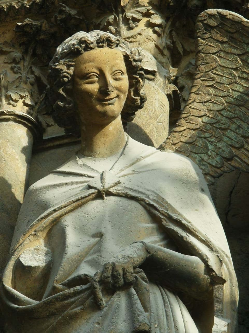 angel gabriel  the visitation  reims cathedral  west portal  rayonnant   mid gothic period
