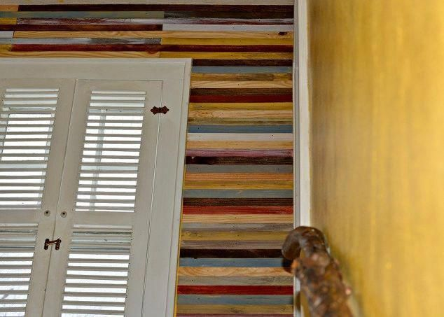 Want to makeover a room in your home? Then consider this gorgeous DIY Lath Accent Wall! Hand crafted from stained and painted lath boards, this home improvement project is a unique and creative way to makeover any room in your home and add a pop of color!#makeover#diy#crafts#homeimprovement#homedecor#accentwall#decorating#homedecorating#tutorial #woodlathewoodturningprojects