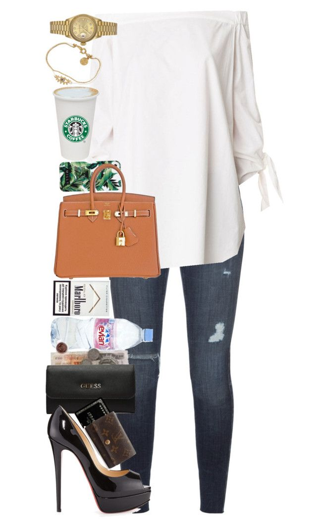 """""""I've been on a calendar, but never on time."""" by quiche ❤ liked on Polyvore featuring Black Orchid, TIBI, Milly, Hermès, Evian, GUESS, Christian Louboutin, Louis Vuitton, Marc by Marc Jacobs and Rolex"""