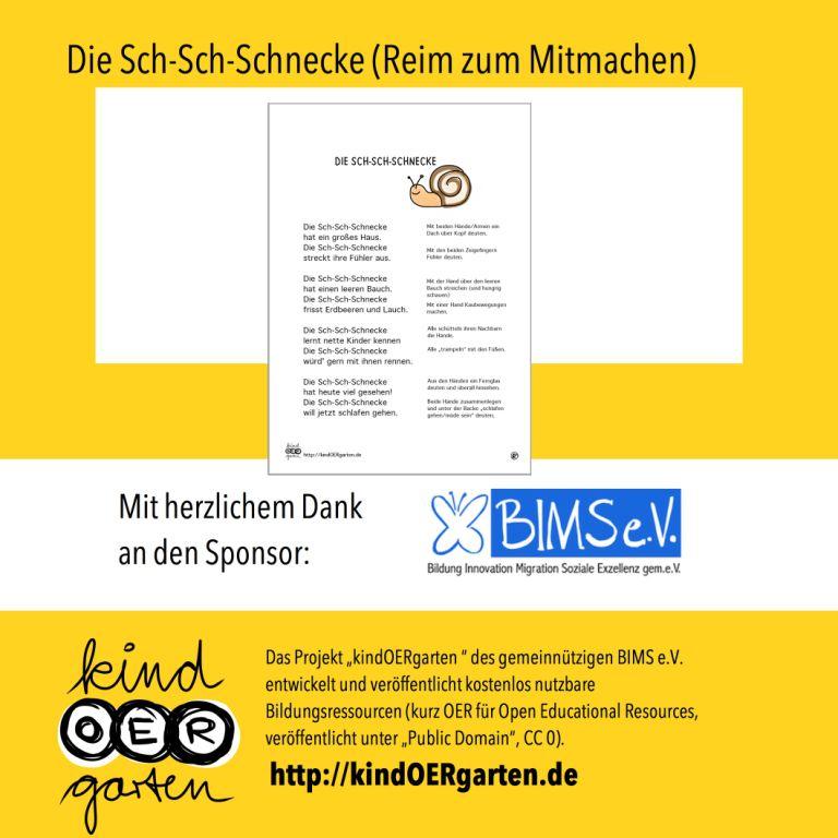 Reim und Fingerspiel: Die Sch-Sch-Schnecke   #0014 – KindOERgarten.de – Freies Material für das Kindergartenalter