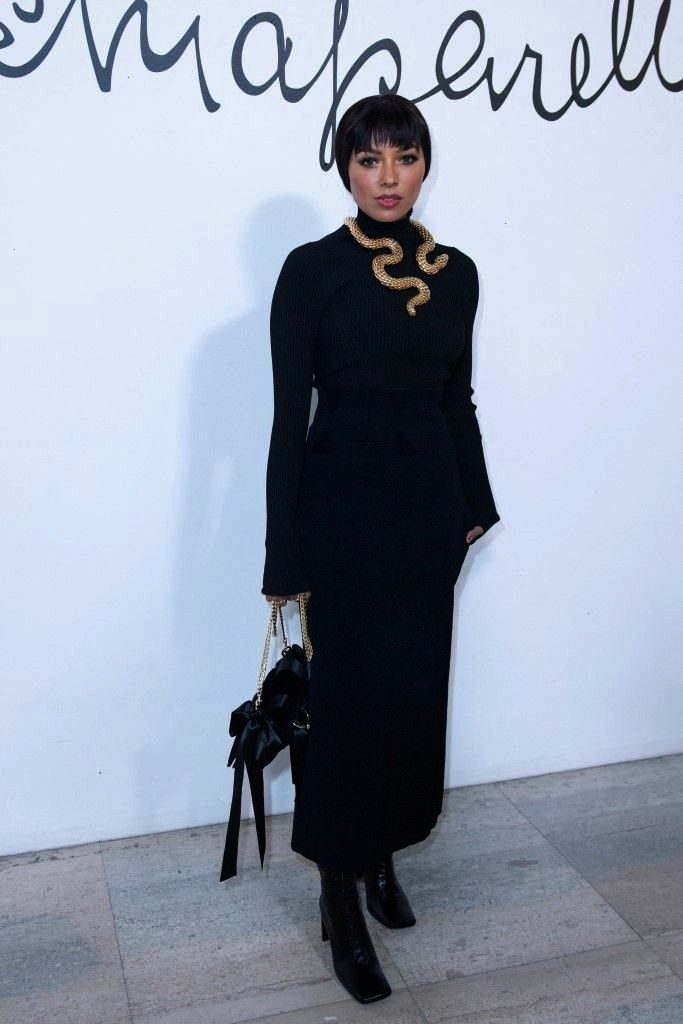 Attend Schiaparelli Haute Couture SpringSummer 2020 Show in Paris Kat Graham in Black Sweater With Skirt During Attend Schiaparelli Haute Couture SpringSummer 2020 Show i...