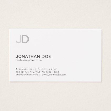 Create your own modern monogram white plain business card white plains create your own modern monogram white plain business card reheart Gallery