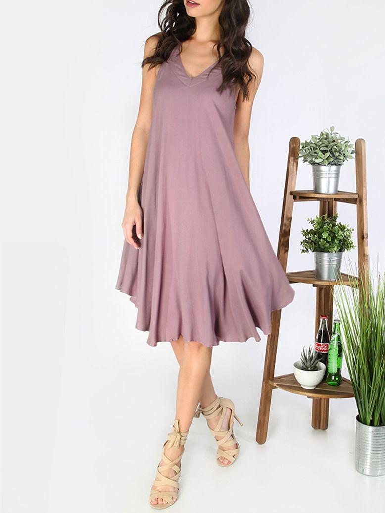 Vestido asimétrico espalda abierta holgado -violeta claro ...