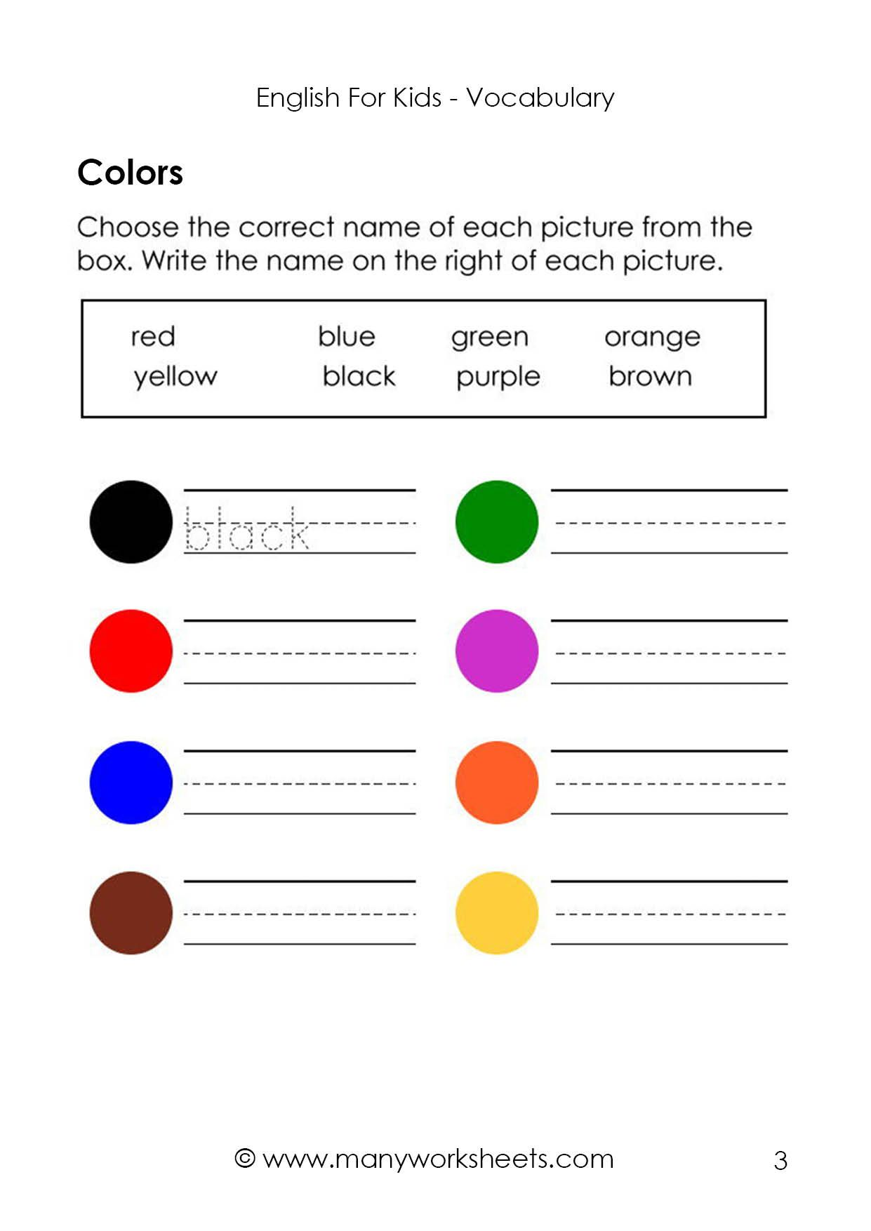 1st Grade Vocabulary Worksheets