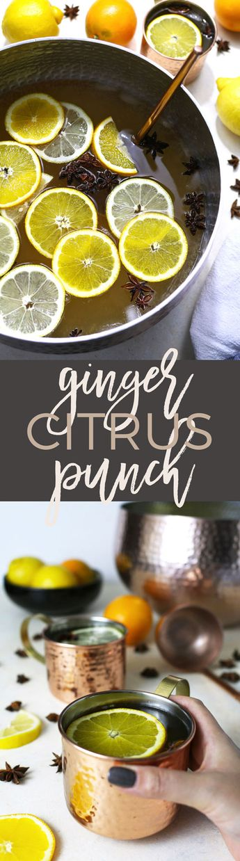 This ginger citrus punch recipe is easy to make and it's perfect for all parties! This is going to be your new go-to big batch holiday cocktail.