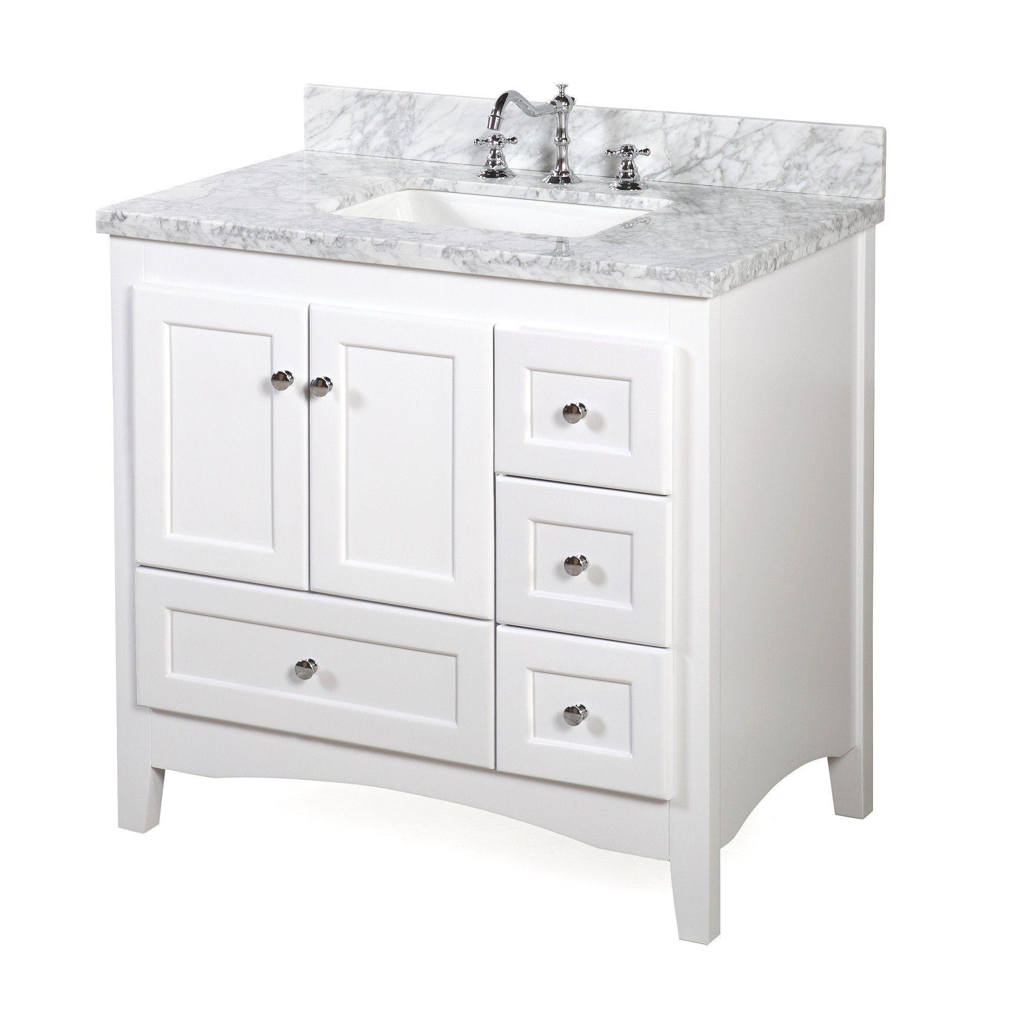 Abbey 36 Inch Vanity Carrara Marble Single Bathroom Vanity