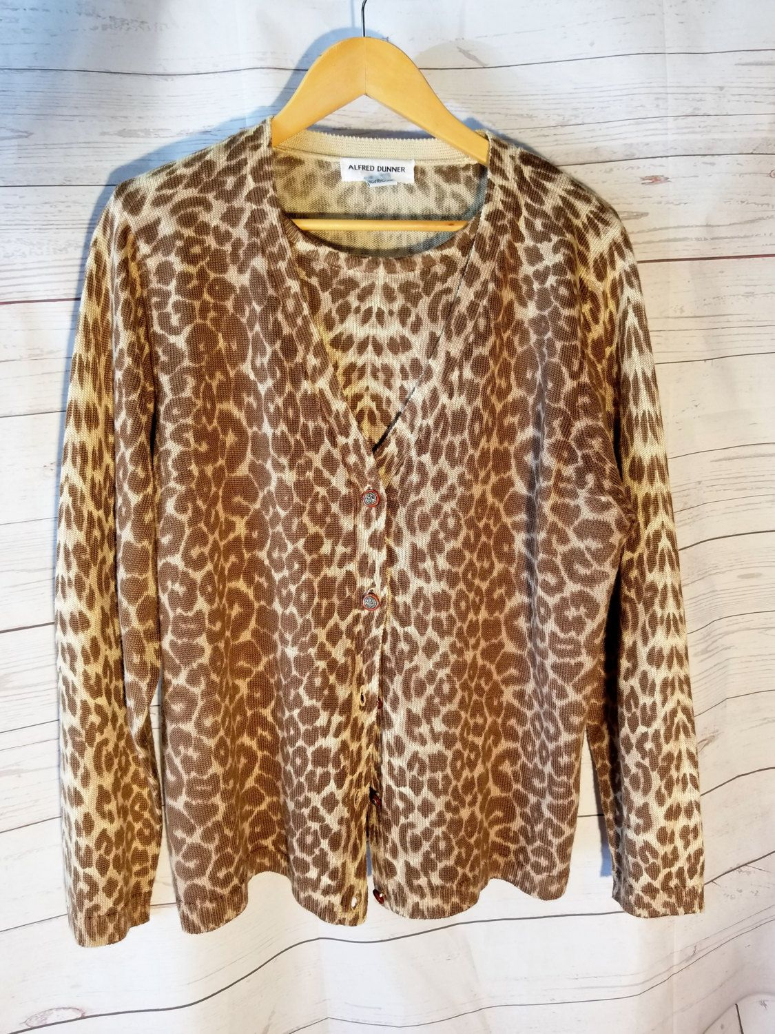 Vintage Womens Layered Cardigan Sweater - Alfred Dunner - Leopard ...