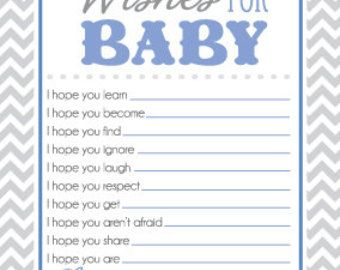 Baby Shower Game Sheet for Wishes for Baby I by CRSdesignstudio