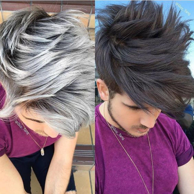 Black Or White Hair Replacement For New Year Grey Hair Dye Grey Hair Color Men Brown Hair Men