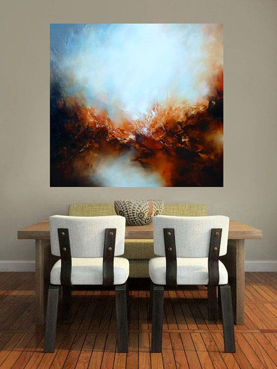 40x40 Canvas Abstract Landscape Oil by SimonkennysPaintings on Etsy.com