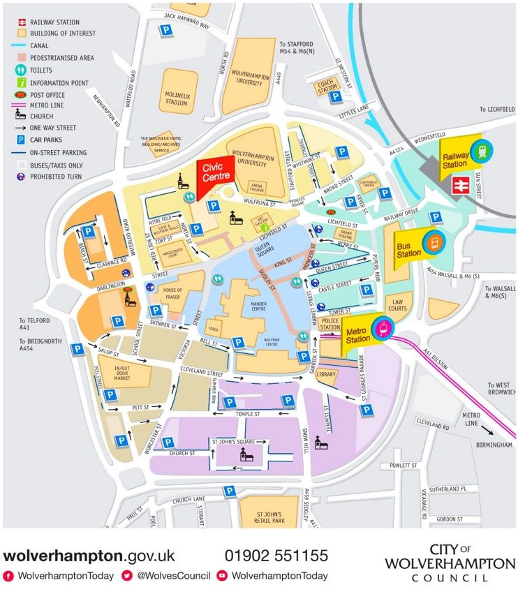 Wolverhampton sightseeing map Maps Pinterest Wolverhampton and