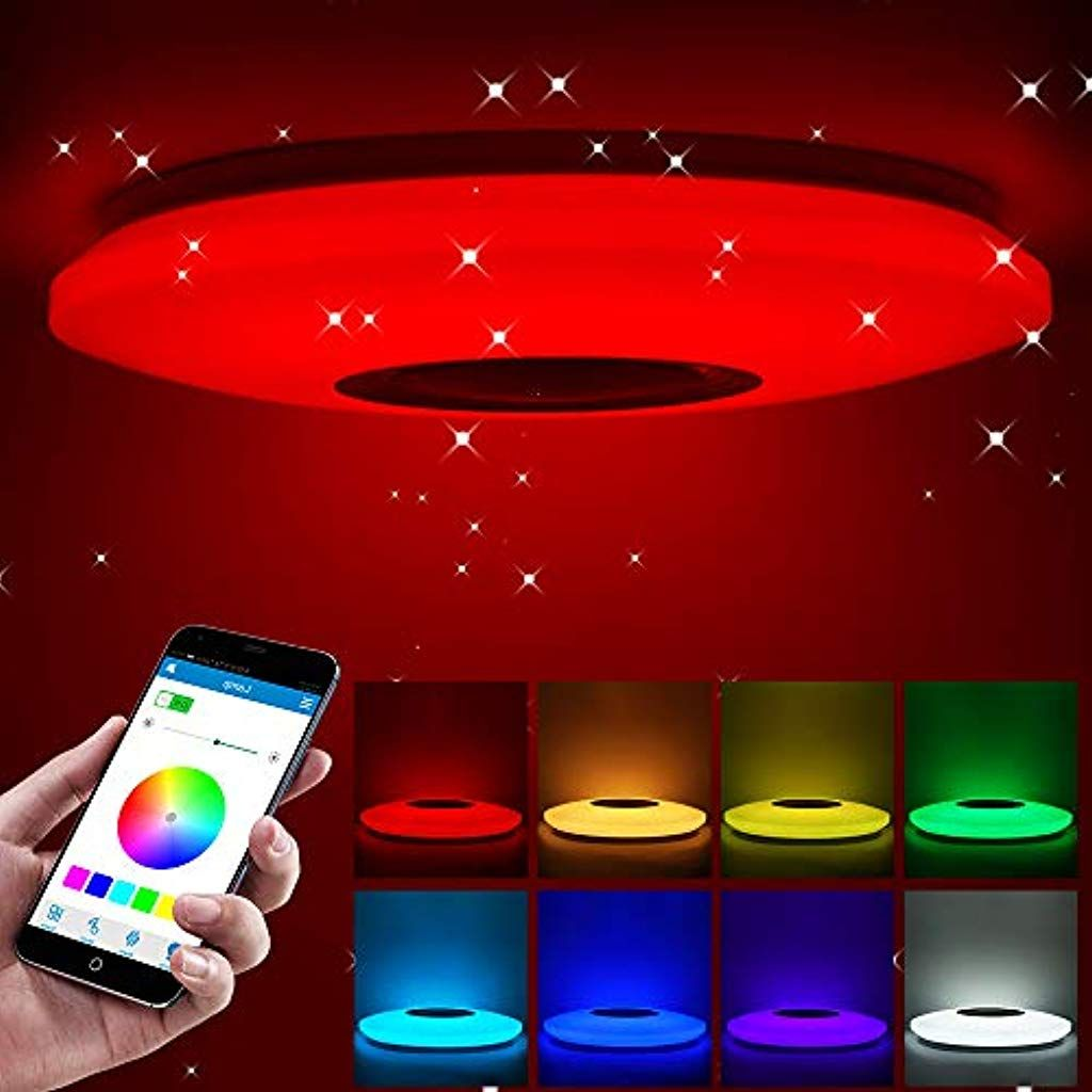 Aozbz Bluetooth Led Deckenleuchte Mit Bluetooth Lautsprecher Dimmbare Led Musik Deckenleuchte Bluetooth Steuerung Mit Smartphone App In 2020 Deckenleuchten Led Deckenleuchte Und Innenbeleuchtung