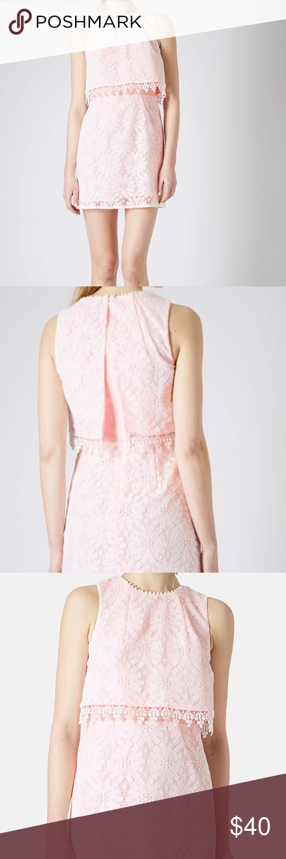 Pink dress topshop  Topshop crop dress light pink lace dress size   Crop dress Pink