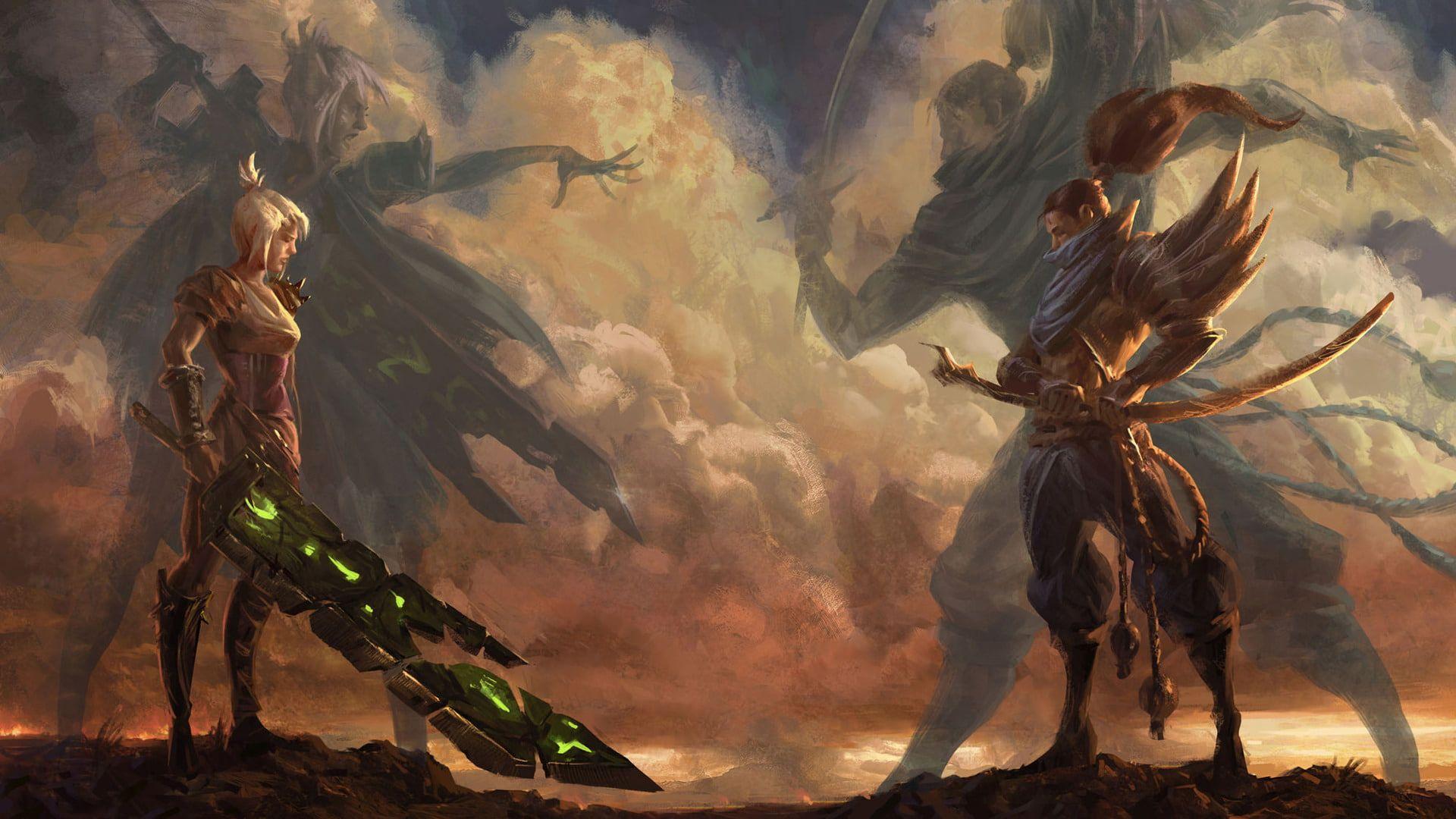 Video Game League Of Legends Riven League Of Legends Yasuo League Of Legends 1080p Wallpaper Hdwallpaper Zed Wallpaper Figura Desenho Witcher Wallpaper