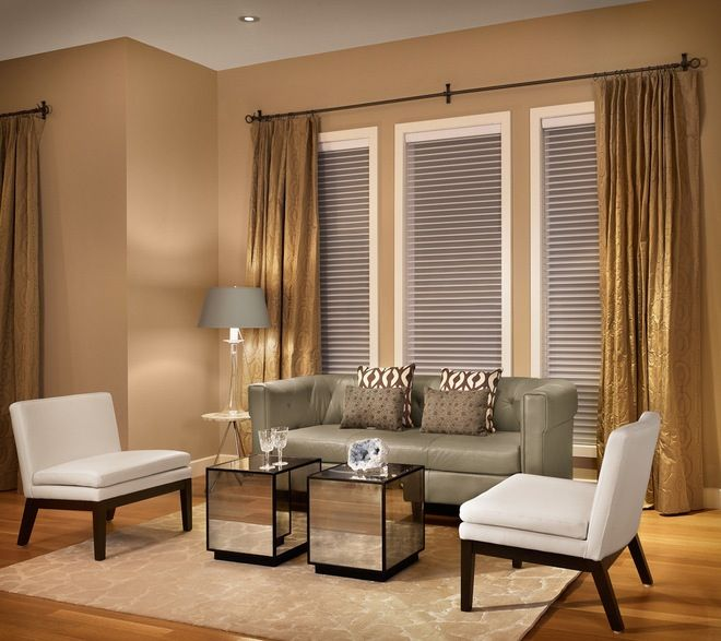Three Window Curtain Idea Curtains Living Room Beige Living