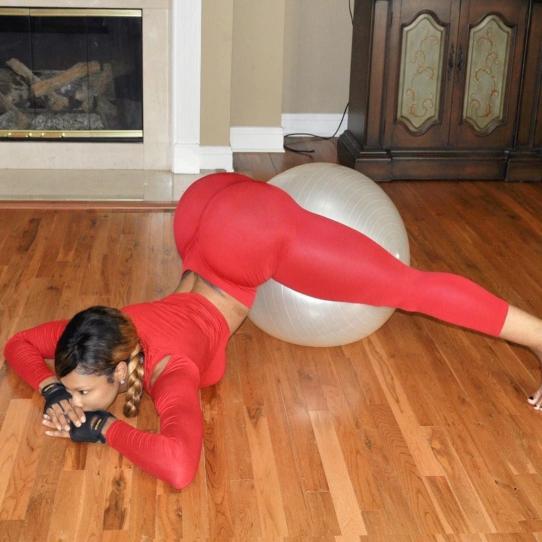 Big booty blonde yoga ball