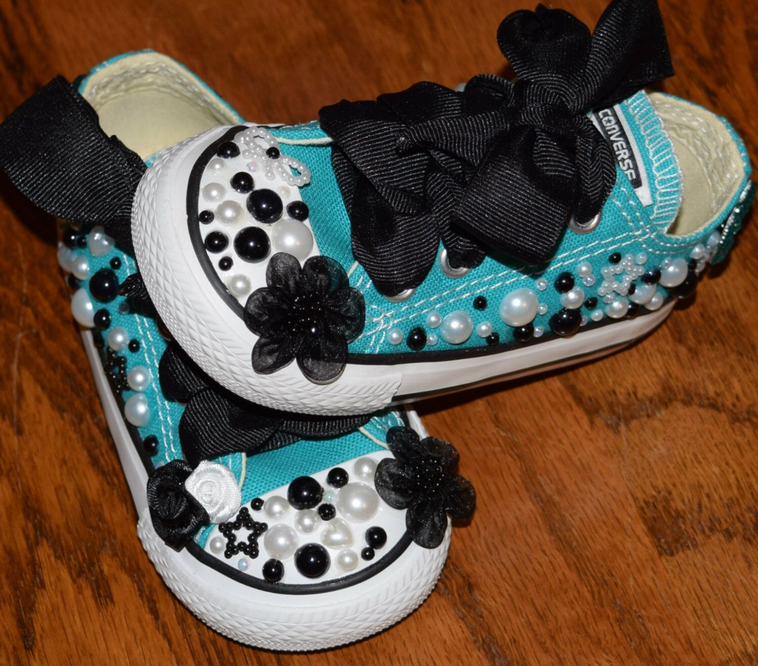 Teal, Black & White Bling Pearl Converse Shoes - Baby / Toddler size 5 -