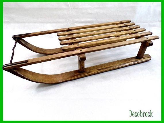 luge vintage en bois bon tat marque la hutte luge ancienne art populaire pinterest luge. Black Bedroom Furniture Sets. Home Design Ideas