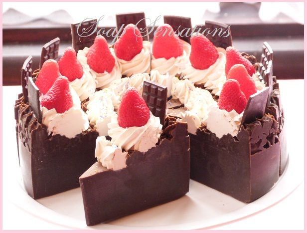 Chocolate soap cake with vanilla icing and a cherry on top! Wow, what an amazing food-inspired soap design!
