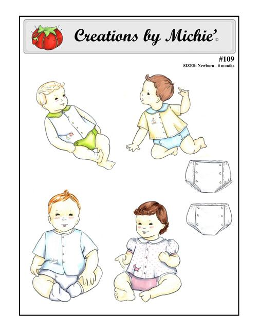 Infant Shirt and Diaper Cover Pattern – 109 | pin | Pinterest | Bebe ...