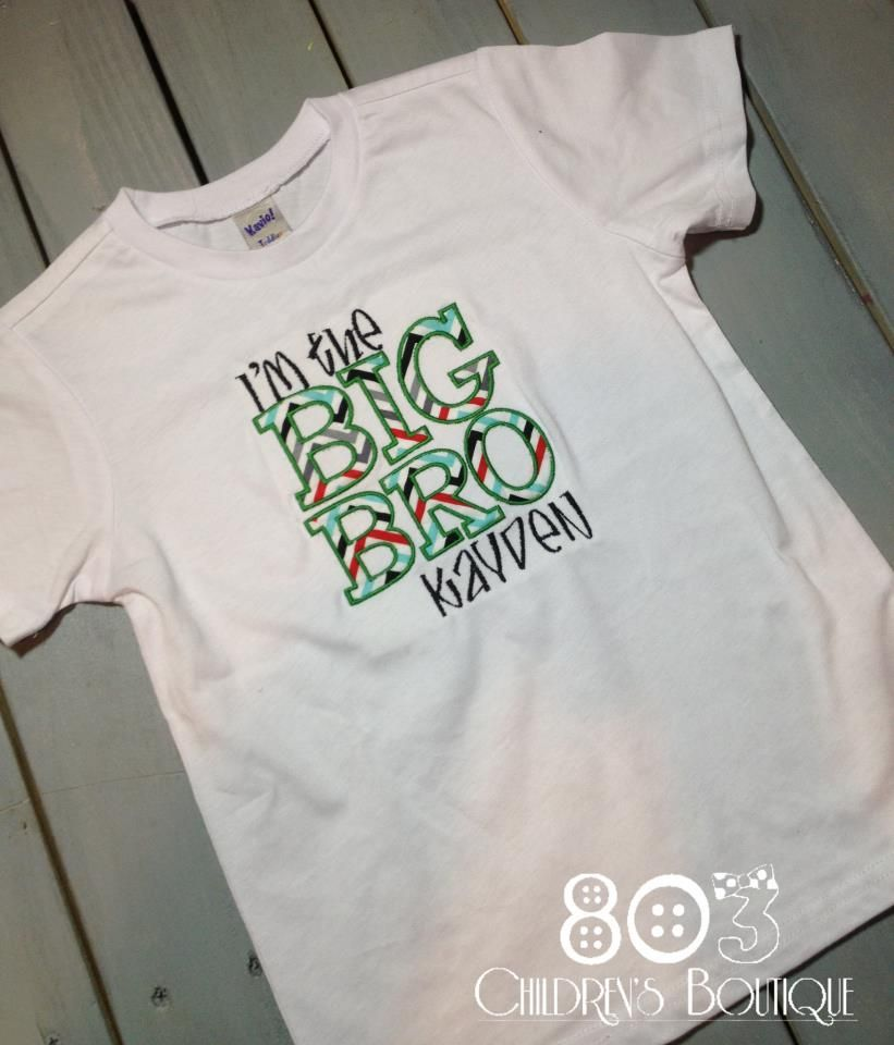 Sibling I'm the Big Bro Multi 2   This listing is for a custom I'm the Big Bro shirt. This design is machine embroidered directly on to the shirt. No stickers or iron ons used at our shop.      Comes in sizes:  Onesies: 0-3 month, 3-6 month, 6-12month  Shirt: 12m, 18m, 24m 3T, 4T, 5T
