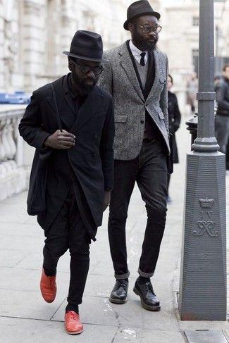 Men's Grey V neck T shirt, Grey Wool Blazer, Black Skinny