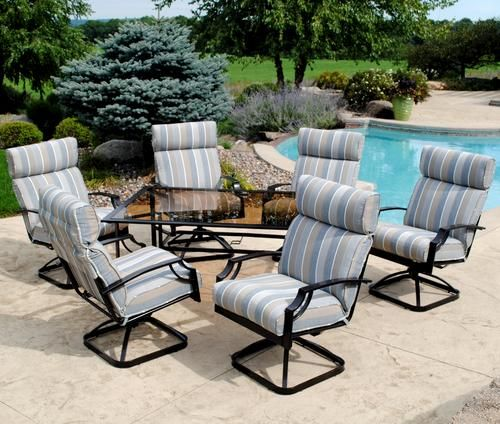 Backyard Creations 7 Piece Pacifica Dinning Collection At Menards Outdoor Cushions Patio Furniture Patio Furniture Chairs Patio Furniture Collection