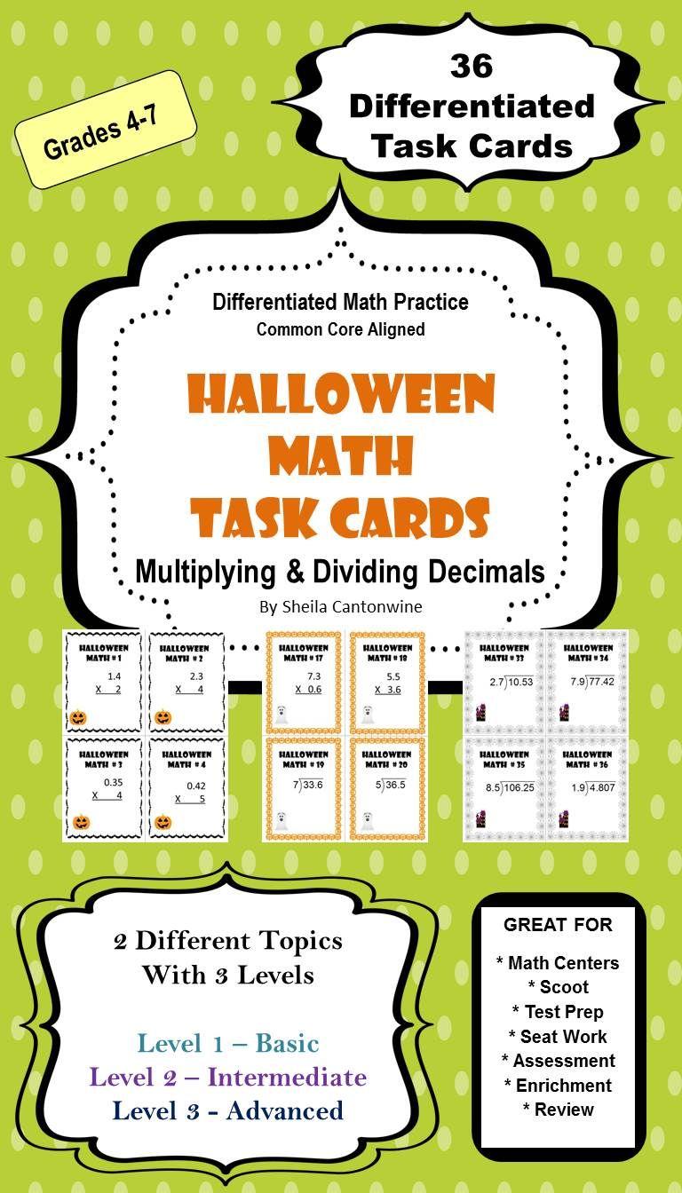 halloween math multiplying and dividing decimals task cards