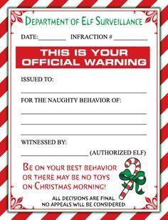 A Cute Christmas Elf Warning Letter AndOr A Personalized Letter