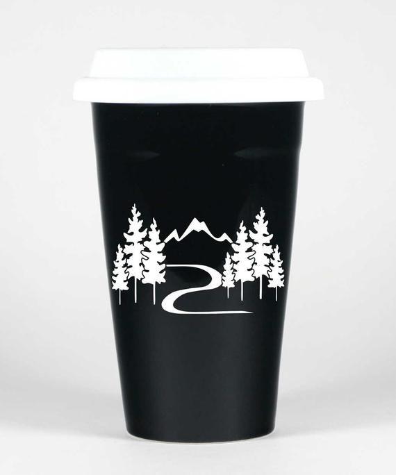 Mountain Trail Hiking Travel Mug Dishwasher Safe Insulated Ceramic With Lid
