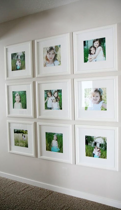 Love This Great Idea For Doing Color Photos Rather Than Black And White Picture Home Decor Pictures Family Photo Wall Display Family Photos