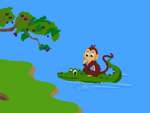 The Monkey And The Crocodile Panchatantra Stories Retold Picture Story For Kids Story Retell Picture Story For Kids Popular Kids Stories