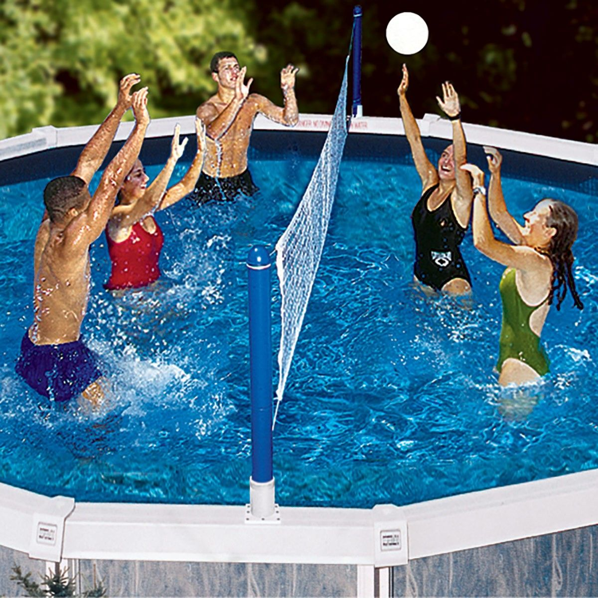 Swimline Jammin Above Ground Cross Pool Volley Pool Volleyball Net Swimming Pool Games Water Volleyball