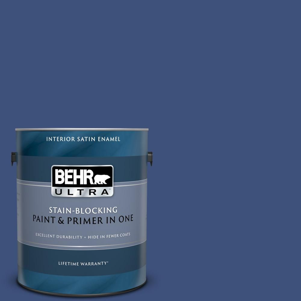 Behr Ultra 1 Gal 600d 7 Daring Indigo Satin Enamel Interior Paint And Primer In One 775301 Exterior Paint Behr Paint Primer