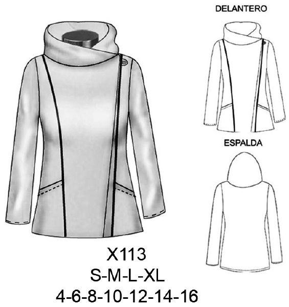 Moldes de capas de polar para mujer 5 | costura | Pinterest | Sewing ...