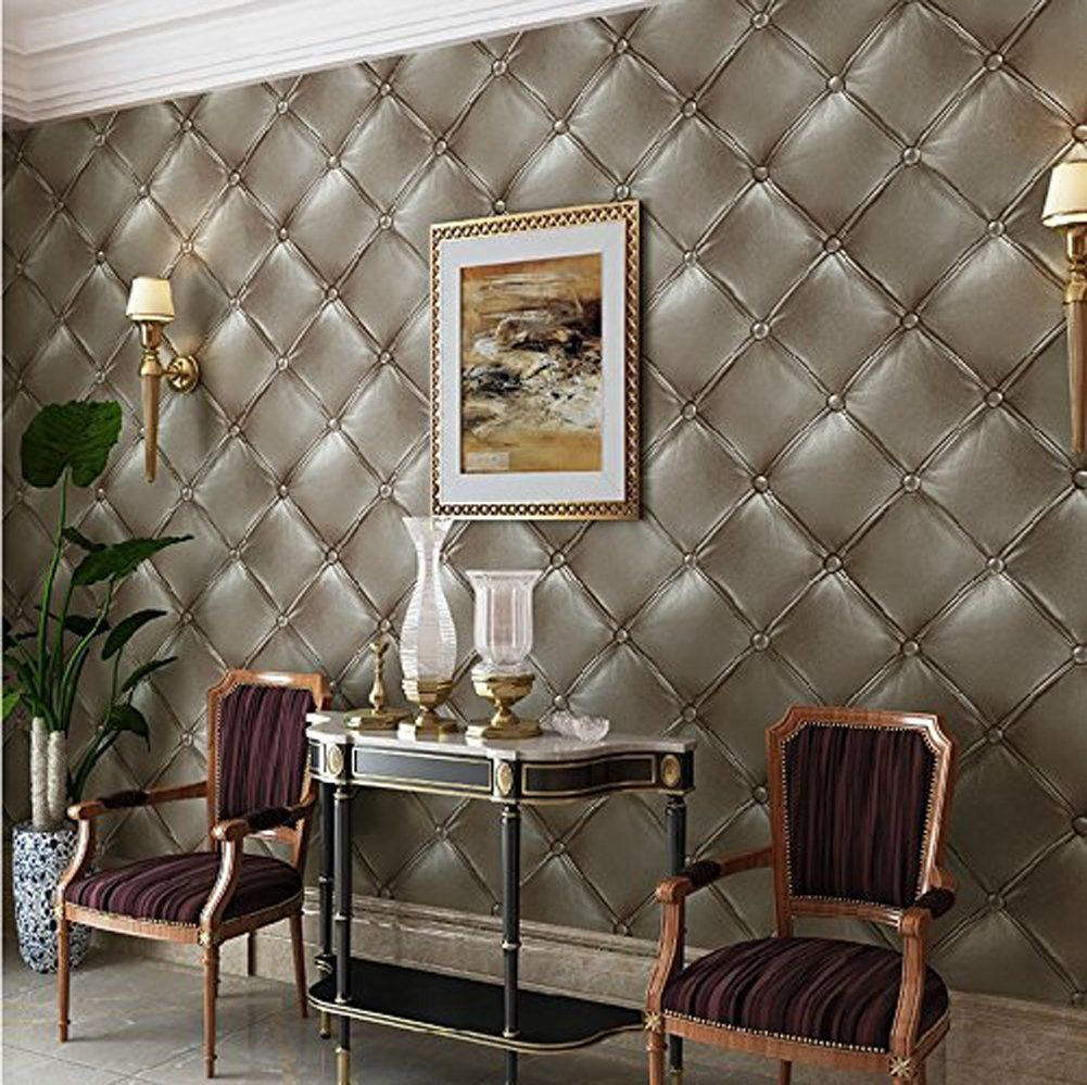 Hanmero Vintage 3D Faux Leather Textured Lattice Wallpaper
