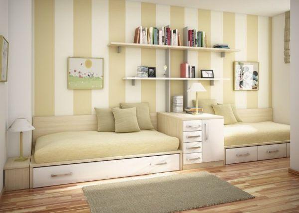 Kinderzimmer ideen für zwei  helle farbnuancen und zwei betten im kinderzimmer - Kinderzimmer ...