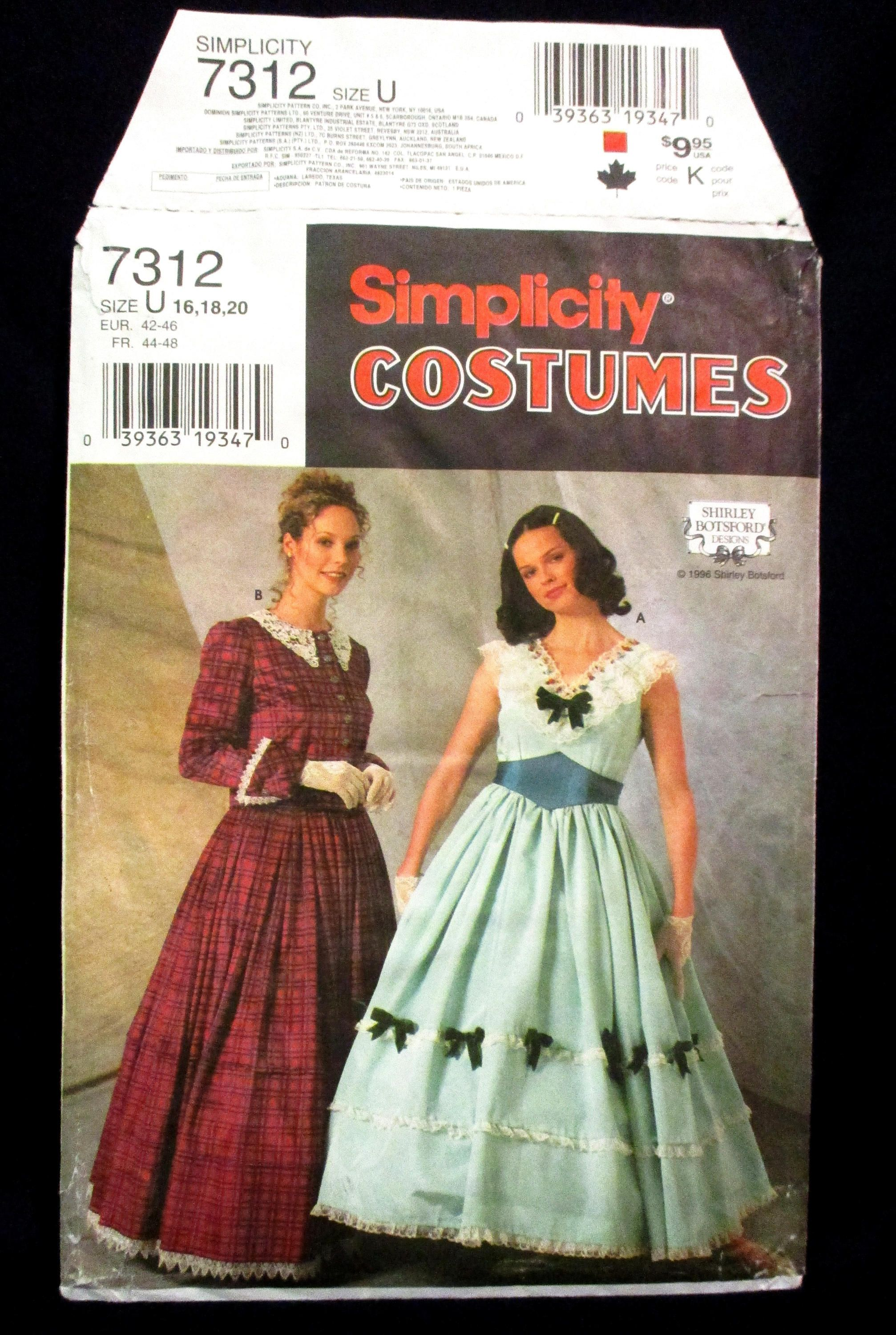 Civil War Southern Belle Dress Pattern Simplicity Costumes 7312 ...