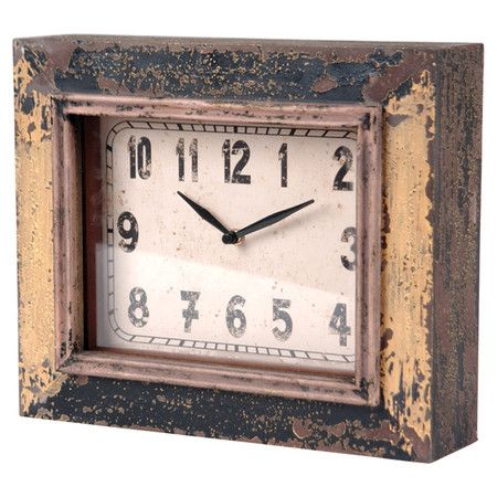 Antiqued Wall Clock With Distressed Wood Frame Product Clockconstruction Material Woodcolor Anti Clock Antique Wall Clock Wall Clock