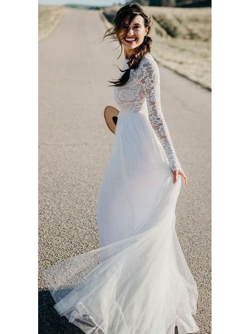 1864e081b1 Cheap floor length white tulle wedding dresses with sleeves. It can be made  in other colors(Color Chart),please leave the color number in cart note or  ...