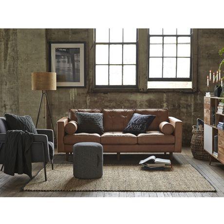 Freedom Furniture Brown Leather Sofa