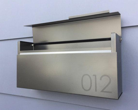 Modern Mailbox Louis B Wall Mounted Mailbox Black Powder Coated In 2020 Modern Mailbox Contemporary Mailboxes Wooden Mailbox