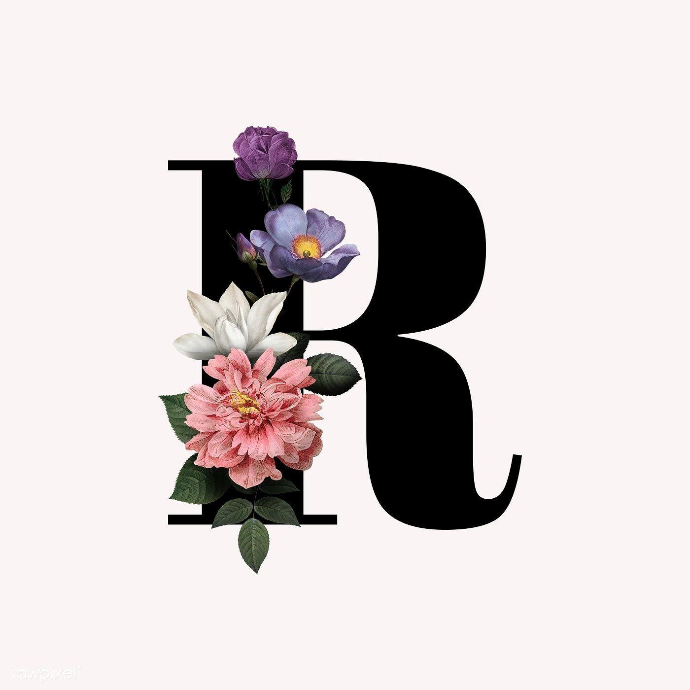 Classic and elegant floral alphabet font letter R free