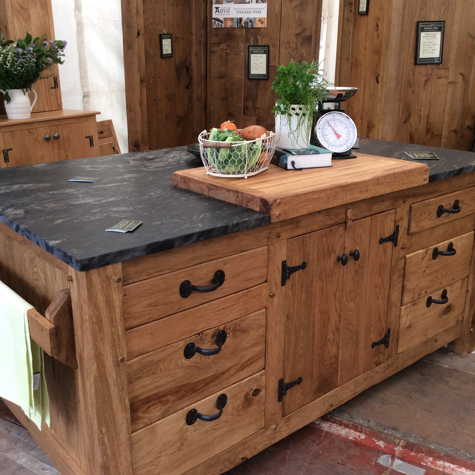 Kitchen Island Unit With Chopping Block And Black Cosmic