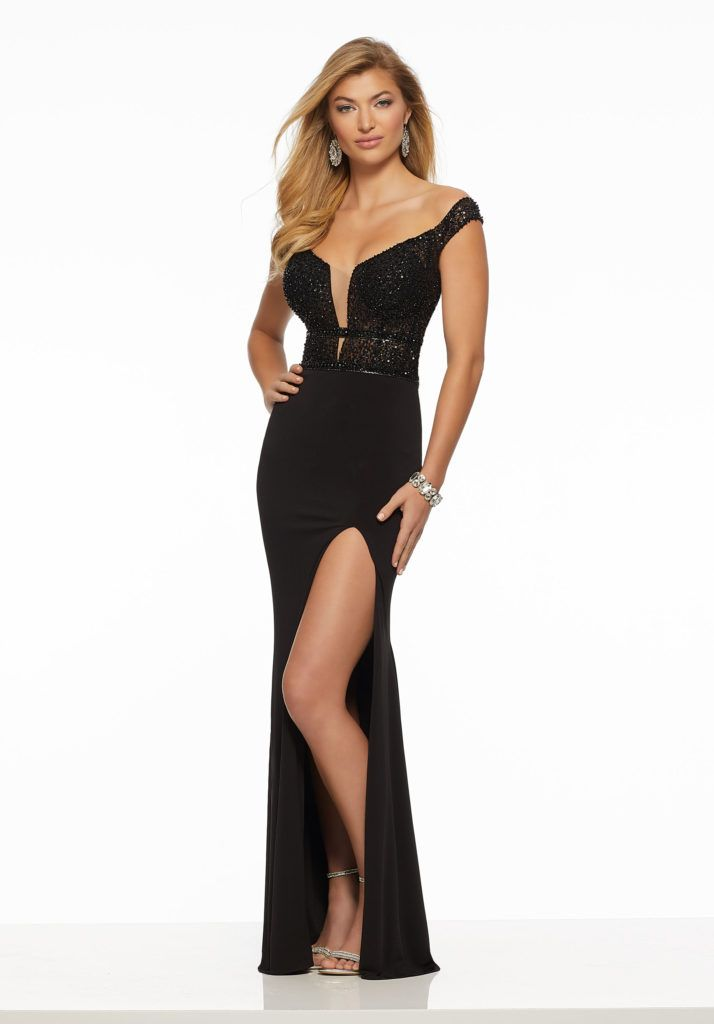 0f3479ee801 Sophisticated Jersey Prom Dress Featuring a Tonal Beaded