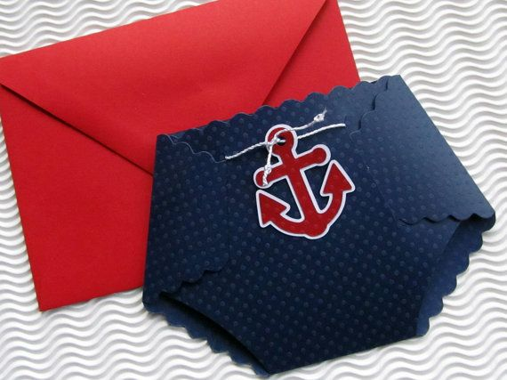 Nautical Themed Diaper Shaped Baby Shower Invitation Baby