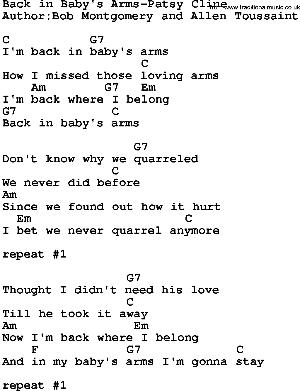 Country Music Song Back In Babys Arms Patsy Cline Lyrics And