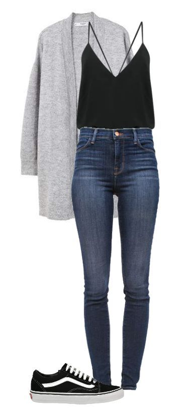 Gray sweater, Black braces tank, Jeans, Sneakers - Casual Outfit - brottbacken #casualoutfits