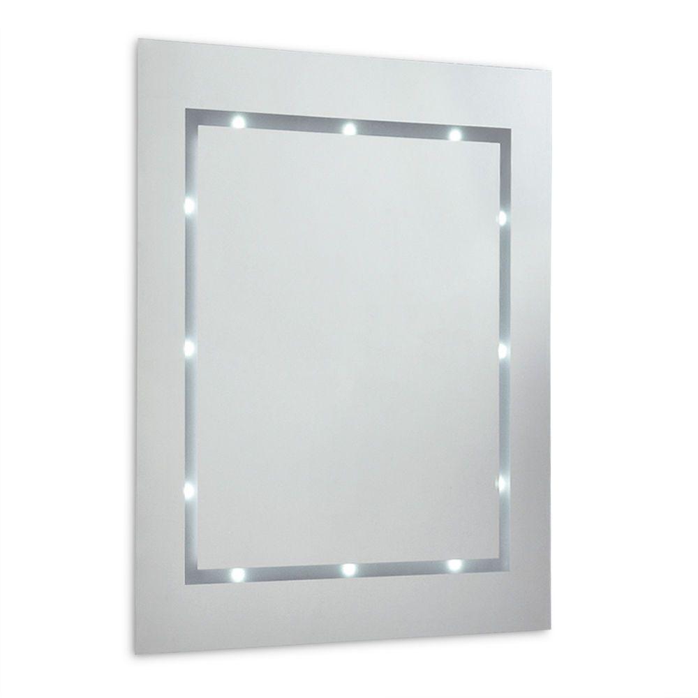 Modern Battery Powered LED Lights Illuminated Bathroom Wall Mirror ...